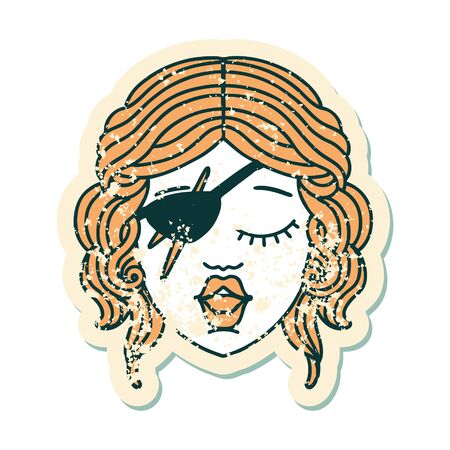 grunge sticker of a human rogue character Illustration