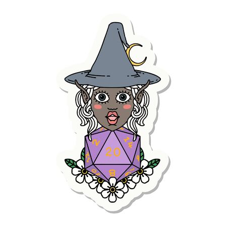 sticker of a elf mage character with natural twenty dice roll