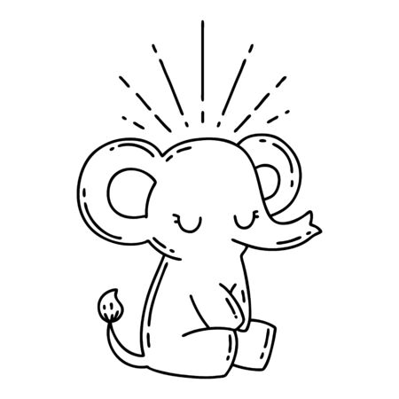 illustration of a traditional black line work tattoo style cute elephant