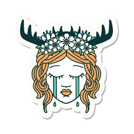 sticker of a crying human druid