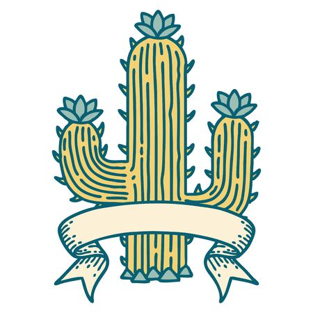 traditional tattoo with banner of a cactus