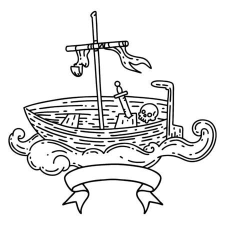 scroll banner with black line work tattoo style empty boat with skull
