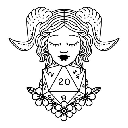 Black and White Tattoo linework Style tiefling with natural twenty dice roll