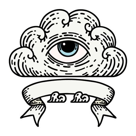 traditional tattoo with banner of an all seeing eye cloud
