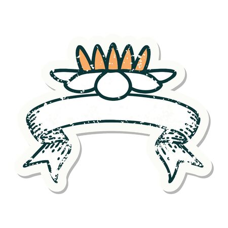 worn old sticker with banner of a lily pad flower Illustration