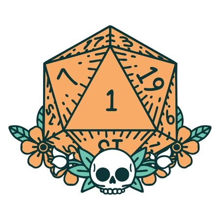 Retro Tattoo Style natural one dice roll with floral elements Illustration