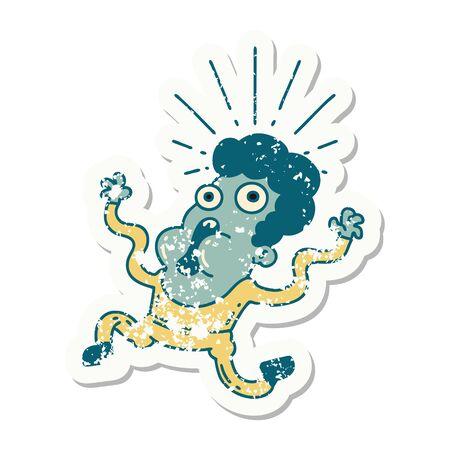 worn old sticker of a tattoo style frightened man Vector Illustratie