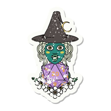 Retro Tattoo Style half orc witch with natural twenty dice roll