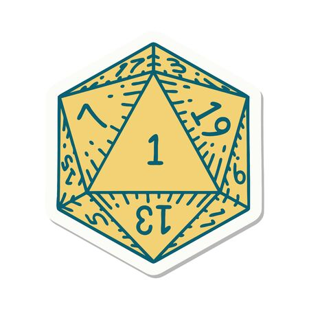 sticker of a natural 1 D20 dice roll