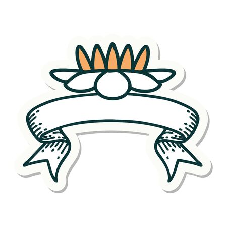 tattoo style sticker with banner of a lily pad flower