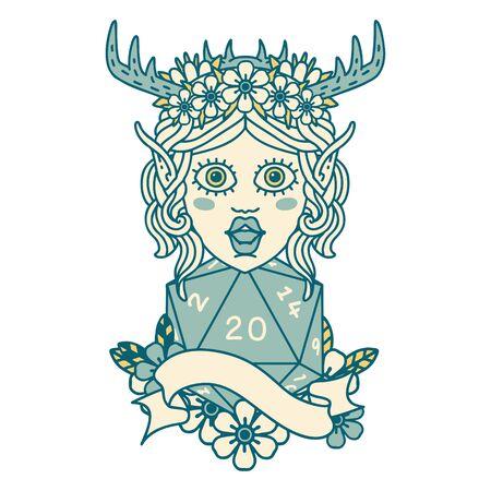 Retro Tattoo Style elf druid with natural twenty dice roll