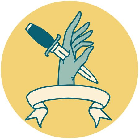 tattoo style icon with banner of a dagger in the hand