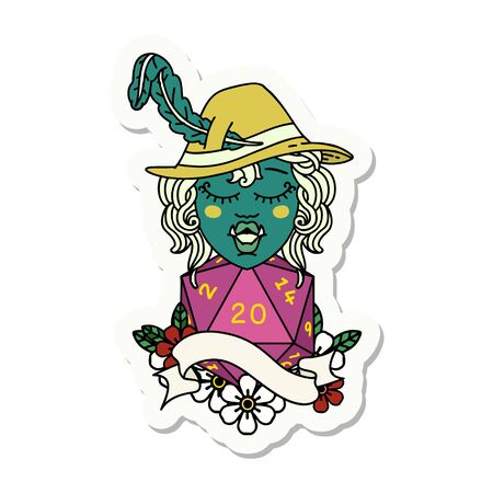 sticker of a singing half orc bard character with natural twenty dice roll 向量圖像