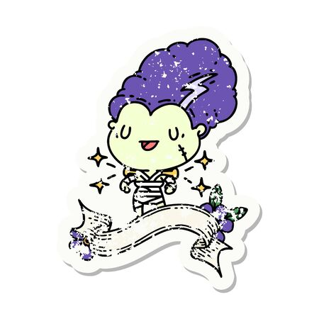 worn old sticker of a tattoo style undead zombie bride character