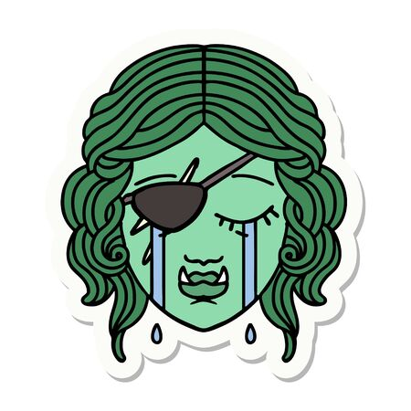 sticker of a crying half orc rogue character face