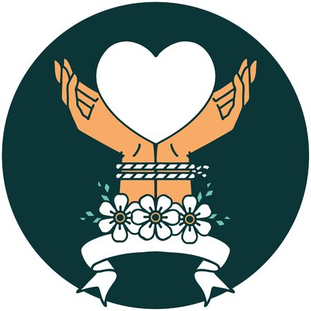tattoo style icon with banner of tied hands and a heart