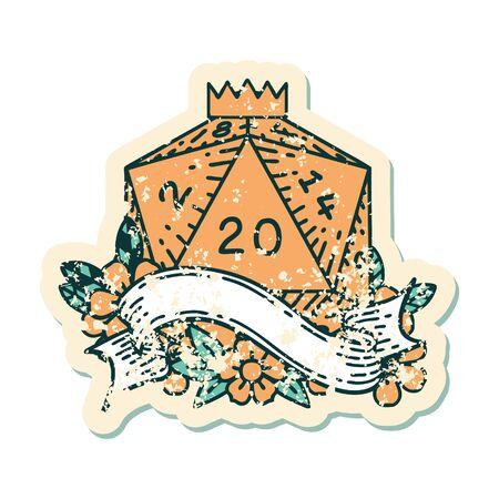 Retro Tattoo Style natural twenty D20 dice roll