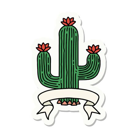 tattoo style sticker with banner of a cactus