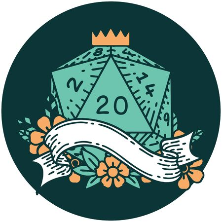 icon of natural twenty D20 dice roll