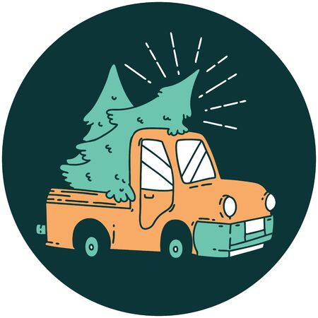 icon of a tattoo style truck carrying trees