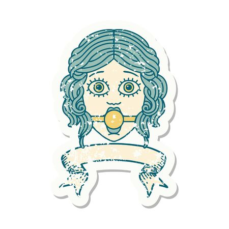 worn old sticker with banner of female face wearing a ball gag