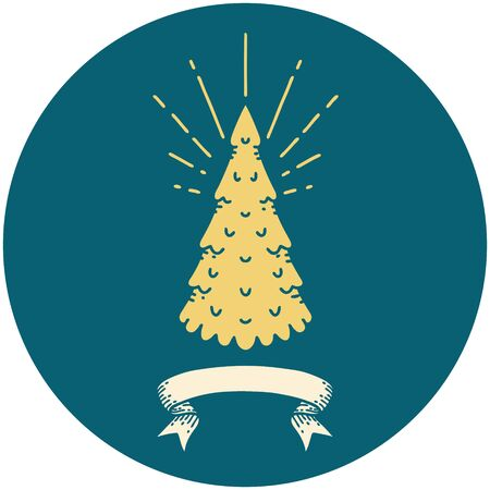 icon of a tattoo style pine tree
