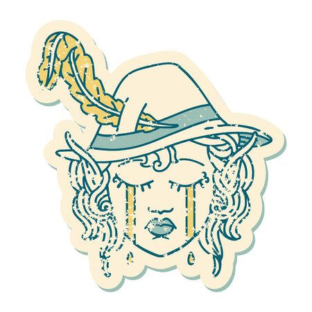 Retro Tattoo Style crying elf bard character face