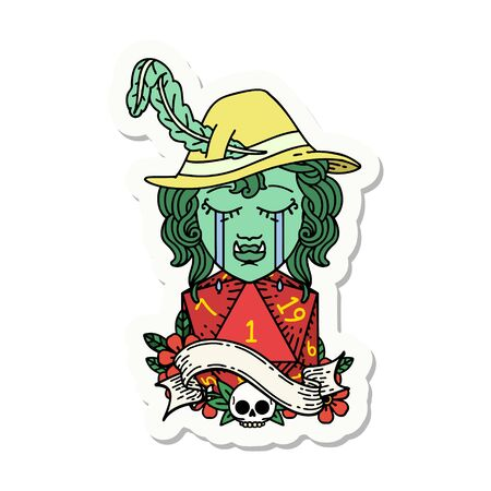 sticker of a crying orc bard character with natural one D20 roll