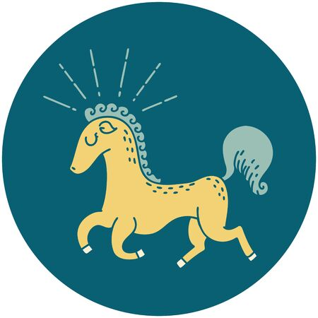 icon of a tattoo style prancing stallion