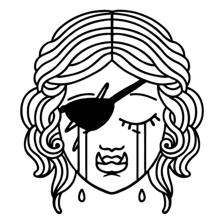 Black and White Tattoo linework Style crying half orc rogue character face