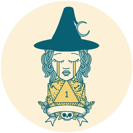 Retro Tattoo Style crying human witch with natural one roll