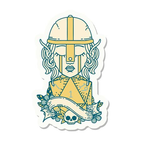 sticker of a crying elf fighter character face with natural one D20 roll