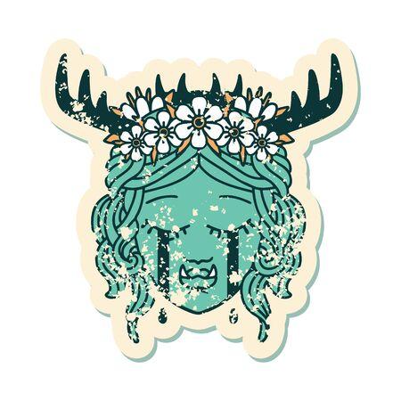 Retro Tattoo Style sad half orc druid character face