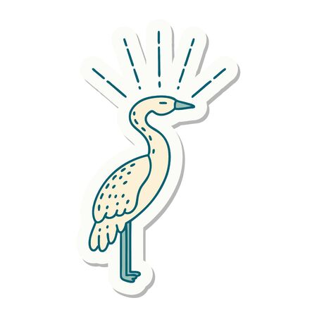 sticker of a tattoo style standing stork