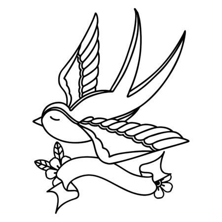traditional black linework tattoo with banner of a swallow Vecteurs