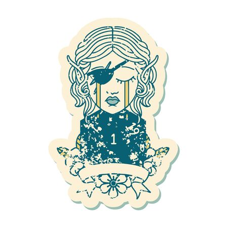 Retro Tattoo Style crying elf rogue character with natural one D20 roll Illustration