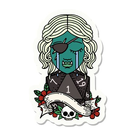 sticker of a crying orc rogue character face with natural one D20 roll Illustration