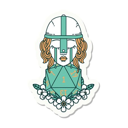sticker of a crying human fighter with natural one D20 roll Illustration