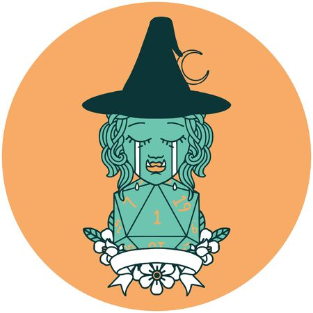 icon of crying half orc witch character with natural one roll