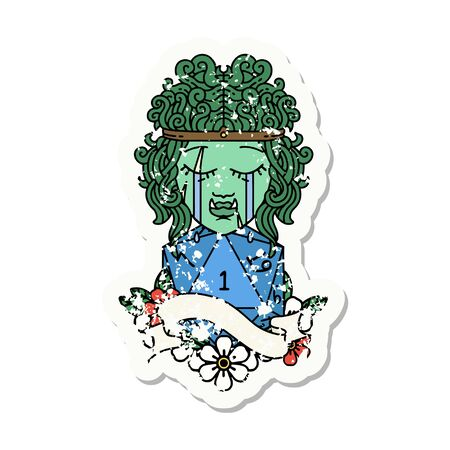 grunge sticker of a crying orc barbarian character face with natural one roll