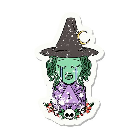 grunge sticker of a sad half orc witch character with natural one D20 roll Illustration