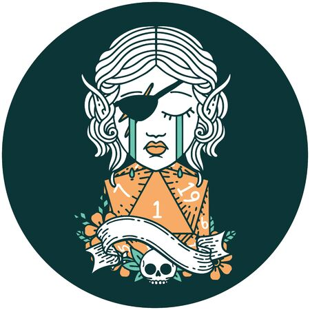 icon of sad elf rogue character face with natural one d20 roll Illustration