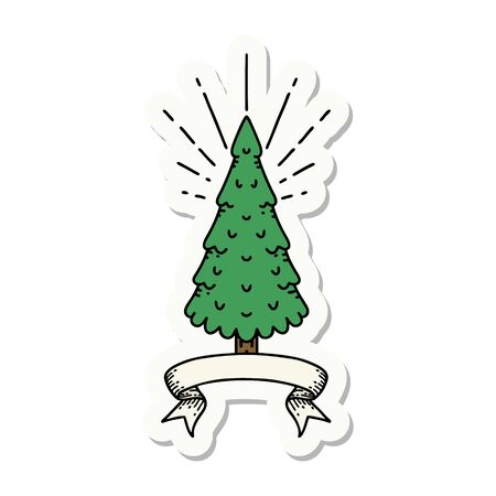 sticker of a tattoo style pine tree Vectores