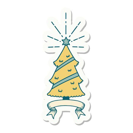 sticker of a tattoo style christmas tree with star Vectores