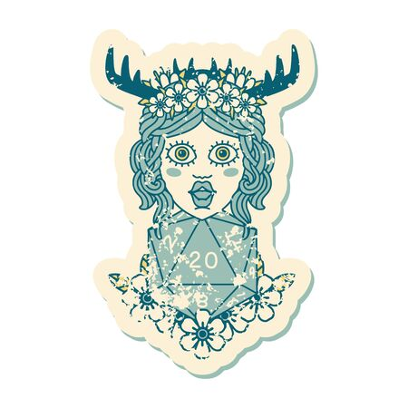 grunge sticker of a human druid with natural twenty dice roll Illustration