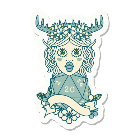 sticker of a elf druid with natural twenty dice roll Illustration