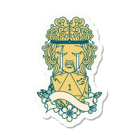 sticker of a crying orc barbarian character face with natural one roll Illustration
