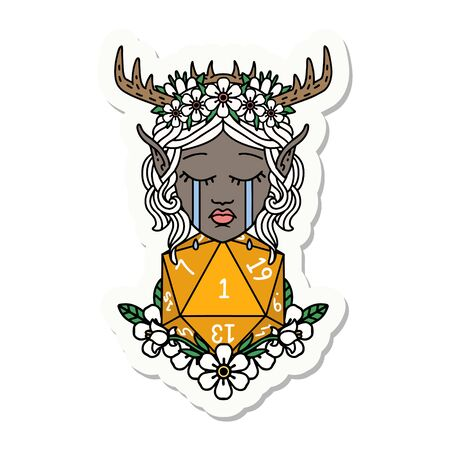 sticker of a crying elf druid character face with natural one D20 roll Illustration