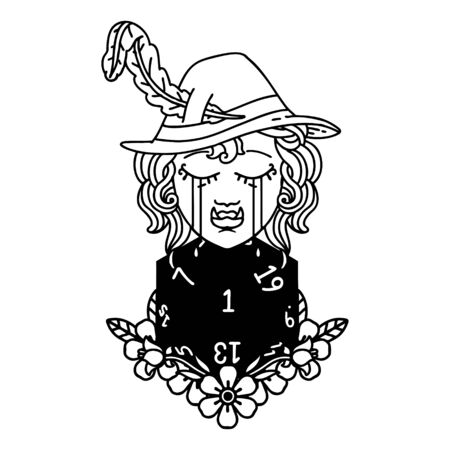 Black and White Tattoo linework Style sad half orc bard character with natural one d20 roll Illustration