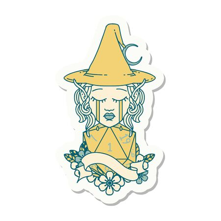sticker of a crying elf mage character face with natural one D20 roll